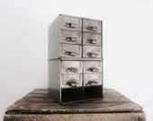 Vintage Industrial Catalog Tool Drawer Bin Metal Industrial Furniture Office Craft Supply Box Rustic Primitive Cabin Decor