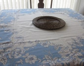 Vintage Tablecloth Kitchen French Blue Flowers with Tag Pale Blue Linens Cotton Shabby French Beach Cottage Decor
