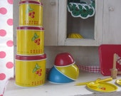 Vintage Toy Tin Kitchen Child Play Cherry Dishes Baking Set Primary Colors Ohio Art Wolverine Cherries Toy Canister Set
