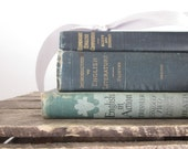 Vintage Textbooks Literature English Dark Green Teal Linen Shabby French Cottage Rustic Decor