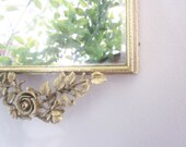 Vintage Mirror Vanity Tray 24K Gold Plated Gilt Gold Shabby French Cottage Decor Art Nouveau