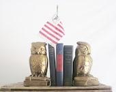 Vintage Brass Owl Book Ends Gold Blue