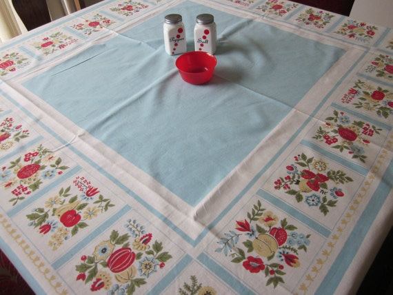 Vintage Kitchen Tablecloth Cherry Strawberry Fruit Pale Blue Cotton Folk Art Dutch