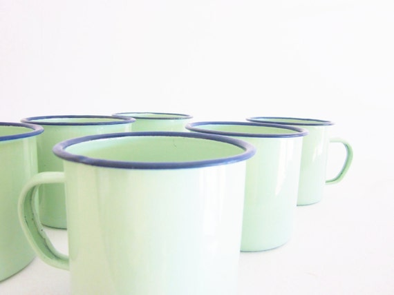 Vintage Kitchen Enamelware Coffee Cups Sage Mint Green Dark Blue Rim with Wrought Iron Rack Instant Collection