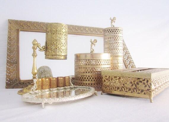 Mid Century Vanity Set Gilt Gold Filigree By