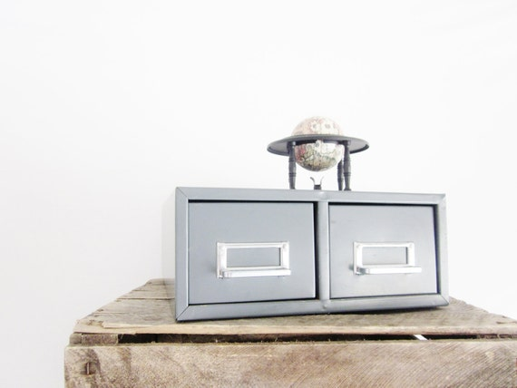 Vintage Steel Card Catalog Cabinet Industrial Chic Steel Gray Metal Office Mid Century Decor