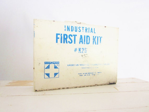 Vintage Metal First Aid Kit Industrial Chic Decor Box Shabby Cottage Rustic Cabin Primitive Decor