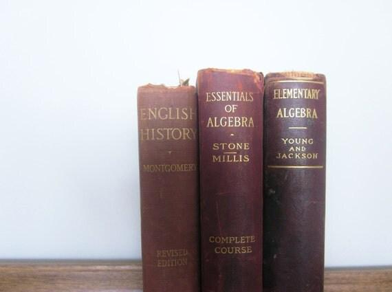 Antique Books Textbooks 1905 Algebra English History Library Leather Books Shabby Rustic Cottage Wine Burgundy