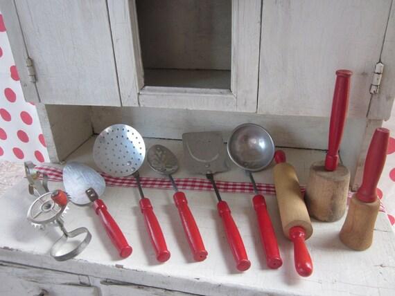 Vintage Toy Kitchen Utensils Red Handle Metal