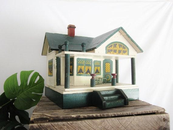 Antique Converse Doll House Toy Primitive Folk Art House Green Yellow Miniature Vintage Dollhouse