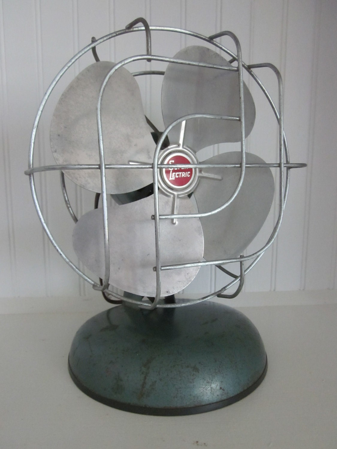 Vintage Electric Fan Industrial Chic Green Metallic Shabby