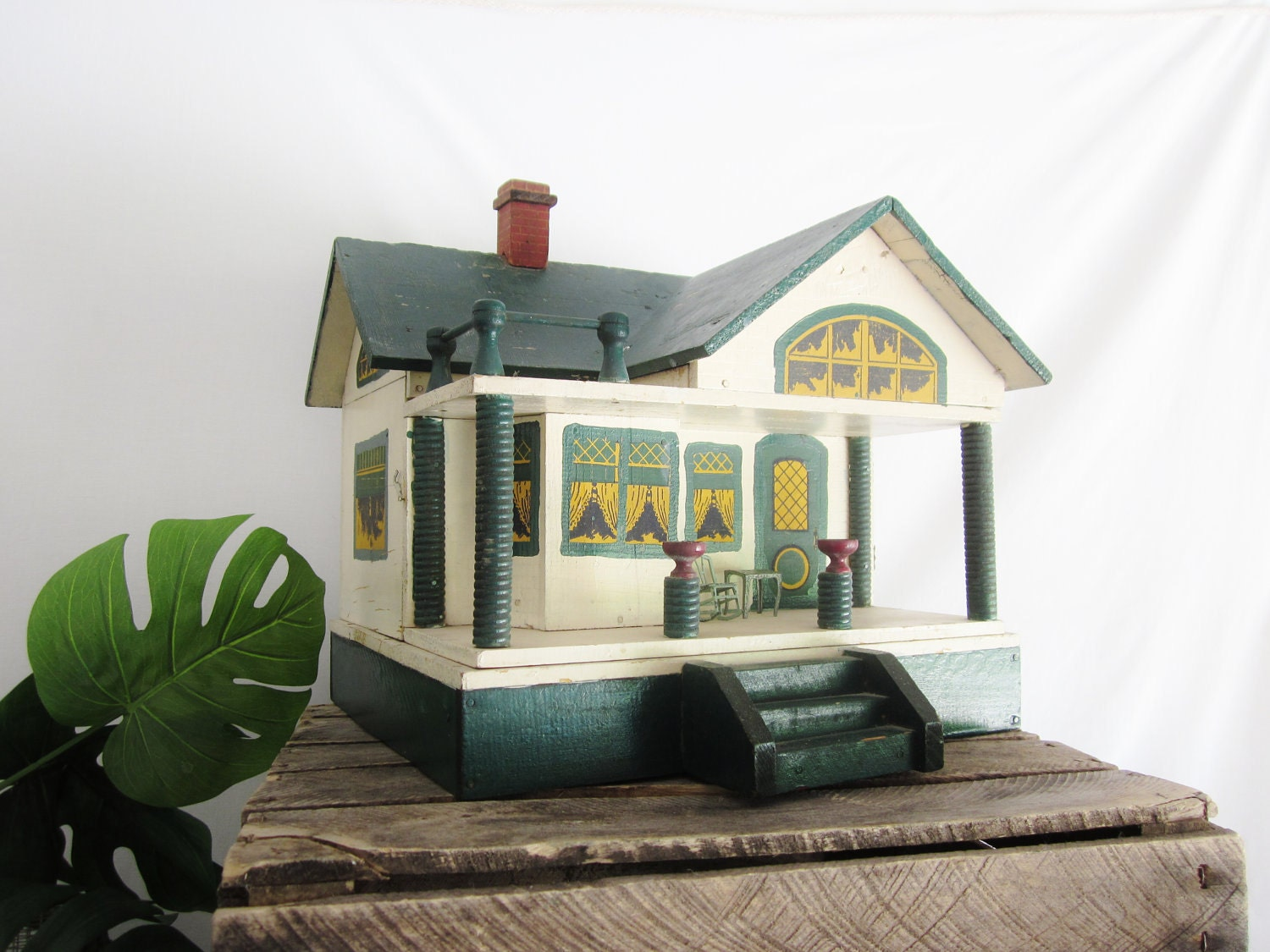 Antique Converse Doll House Toy Primitive Folk Art House Green