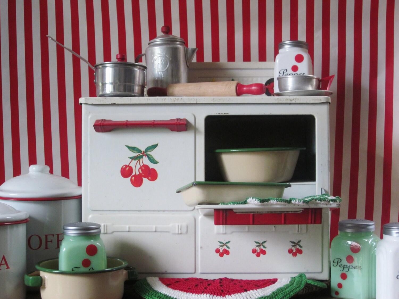 Vintage Toy Tin Play Stove Child Cherry Kitchen Mid Century