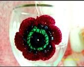 SALE Crochet POPPY  FLOWER Earrings