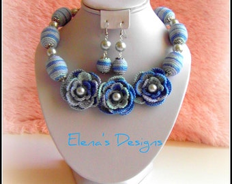 Ocean Blue Crochet Necklace Earrings Floral  Roses Grey Glass Peals Pure Cotton