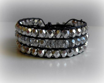 Leather Cuff 3 Row  Bracelet Silver Czech Glass Woven Crystal Elephant Button  Boho