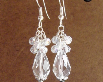 Swarovski Crystal Cascade Crystal Cluster Teardrop Bridal Earrings Silver Bridal Wedding Holiday Hypoallergenic