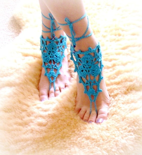 Crochet Barefoot Sandals Beach Pool Wear Yoga Shoes Valentine, Feet Fetish, Goth, Pick your Color