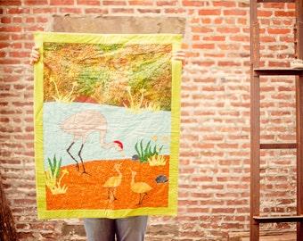 Crane Baby Quilt- Sandhill Crane with Chicks