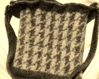 Felted Wool Handbag Fiber Art hand knit Purse in Heather Brown and Oatmeal Houndstooth Check