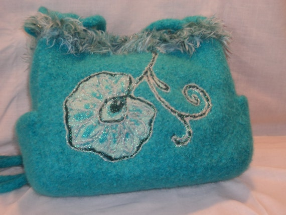 Clearance 50%off Turquoise Hand Knit felted wool Fiber Art bag with needlefelted floral motif and novelty yarn