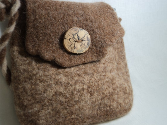 Carmel and Champagne tweed hand knit Fiber Art felted wool bag with wood button