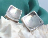 Vintage Mexican Modernist Sterling Silver Earrings Signed JNN Concave Square Screw Back Minimalist Earrings circa 1940s Mexico DF