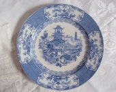 Antique Blue and White Transferware Plate Allertons Chinese Pattern Salad Plate North Staffordshire England