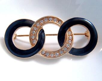 Vintage Black Enamel and Rhinestone Brooch Three Circles Linked Goldtone Pin Signed Monet  Links