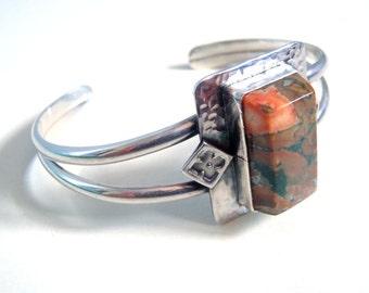 Rainforest Jasper & Sterling Silver Cuff Bracelet: Green, Pink,Ochre Colors Striking Rectangular Cut New Handcrafted Jewelry Stamped Silver