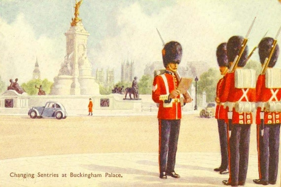 Vintage Postcard United Kingdom Watercolour Series - Changing Sentries at Buckingham Palace - Unused