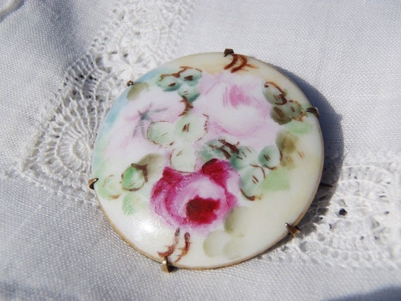 Antique Victorian Porcelain Brooch Hand Painted Pink Roses on Porcelain Brooch Pin Pretty Flowers Antique Jewelry