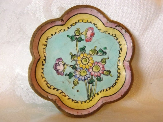 RESERVED FOR BONNIE Vintage Chinese Enamel on Copper Dish Scallop Edged Hand Painted Flowers Pink Blue Yellow Trinket Dish Made in China