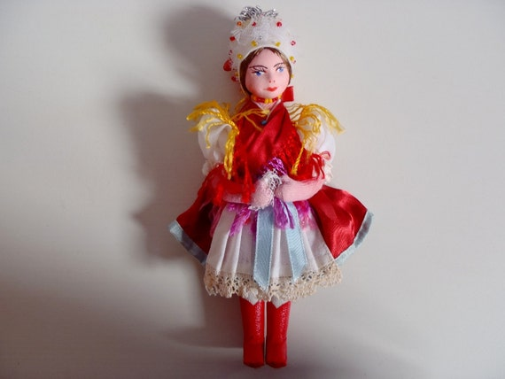 Vintage Hungarian Cloth Doll in Traditional Costume