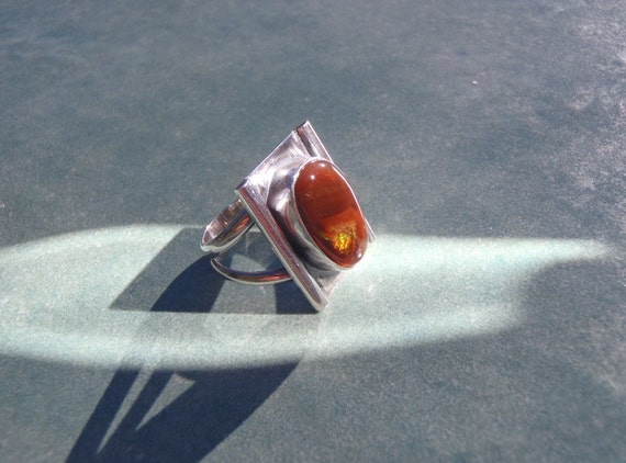 Fire Agate and Sterling Silver Ring Size 8 to Size 8-1/4 New Handcrafted Jewelry Art Deco Style
