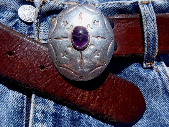 Vintage Sterling Silver Belt Buckle with Cracked Amethyst 1970s Authentic San Francisco Street Artist
