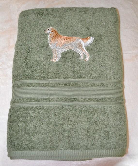 Embroidered Golden Retriever Bath Towel