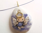 I'M IN HEAVEN - hand painted pebble pendant 3 x 2,5 cm