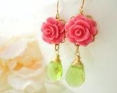 Flower Earrings Flower Cabochon Marie Antoinette Flower Cabochon Dangle Earring Flower Earring Resin Flower Jewelry Dangle Earring