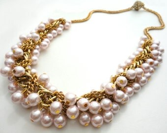 Origami Pearl Necklace Pink Beaded Chain Crystal Nostalgic Whimsy Layered Romantic Vintage Inspired One of a Kind Statement Piece Gift