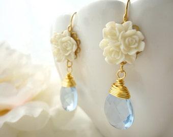 Flower Earrings Flower Cabochon Earring Marie Antoinette Blue Flower Earring Cabochon Earring Flower Earring Resin Flower Earring Gift