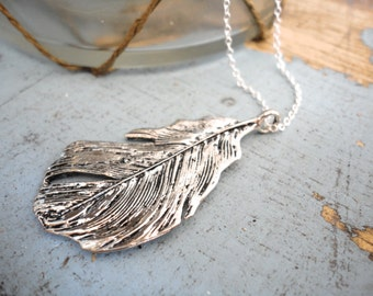 Feather Necklace Feather Jewelry Feather Pendant Silver Necklace Gypsy Feather Bohemian Boho Gothic Swan Feather Necklace Jewelry Gift