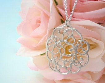 Silver Lace Necklace Silver Pendant Silver Jewelry Silver Filigree Sterling Silver Necklace Pendant Lace Necklace in Silver Jewelry Gift