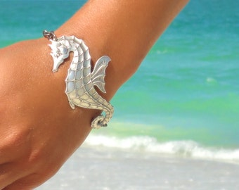 Seahorse Bracelet Beach Bracelet Seahorse Jewelry Nautical Bracelet Statement Jewelry Statement Wedding Boho Bohemian Bracelet Gift for Her