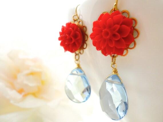 Flower Earrings Flower Cabochon Marie Antoinette Flower Cabochon Earring Glass Flower Earring Resin Flower Jewelry Dangle Earring Gift