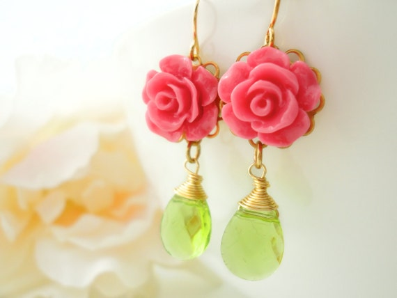 Flower Earrings Flower Cabochon Marie Antoinette Flower Cabochon Dangle Earring Flower Earring Resin Flower Jewelry Dangle Earring