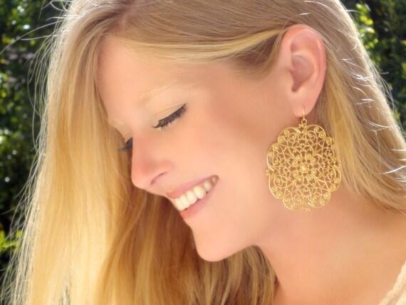 Gold Moroccan Earrings Gypsy Jewelry Bohemian Dangle Earring Gypsy Boho Jewelry Gothic Filigree Statement Dangle Earrings Gift for Her