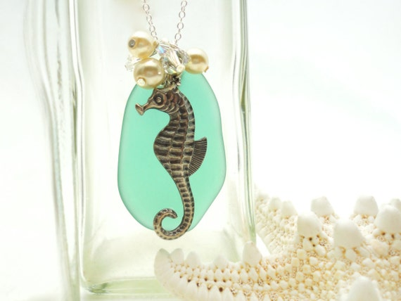 Seahorse Sea Glass Necklace Sea Glass Pendant Sea Glass Jewelry Beach Glass Necklace Beach Glass Pendant Sterling Silver Necklace
