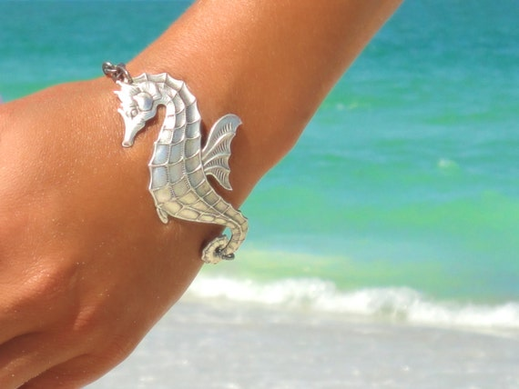 Seahorse Bracelet Beach Bracelet Seahorse Jewelry Nautical Bracelet Statement Jewelry Statement Wedding Boho Bohemian Bracelet Gift for Her