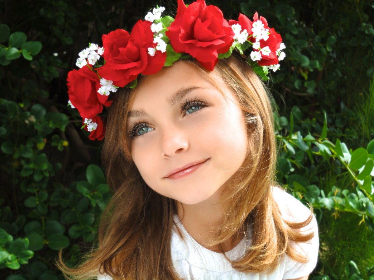 Flower Crown Red Flower Crown Flower Girl Floral Headband